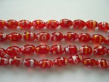 Millefiori glass rice beads 8X12mm Red