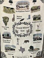 "Flower Mound Texas City Tapestry Cotton Throw Blanket 52x68"" Wildflower Festival"