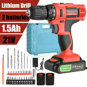 21V Rechargeable Cordless Drill Driver Screwdriver Set & 2 Battery & AU Charger