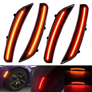 GTINTHEBOX 2PCS 3D Smoked Lens Amber 24-SMD LED Front Bumper Side Marker Lights Lamps Replacement Kit For 2008-2014 Dodge Challenger