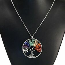 APG Natural Gemstone 7 Chakra Healing Tree of Life Pendant Necklace Charming US