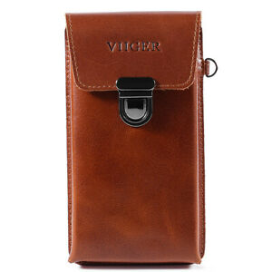 Vertical Phone Holster Men Belt Pouch Leather Carrying HandBag Wristlet Brown