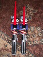 2 Star Wars A New Hope Darth Vader Extendable Lightsaber Jedi Master Red