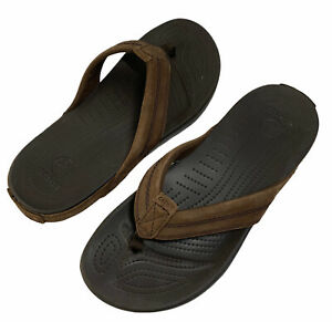 Crocs Slip On Flip Flop Sandals Mens Sz 9 Women's Sz 11 Brown Leather 11342