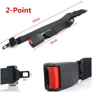 2-Point Retractable Car Truck Seat Belt Lap Adjustable Two Bolt Safety Black