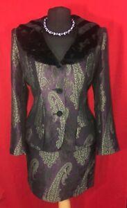 Vintage French Designer Purple Green Skirt Jacket Wedding Work Lined Suit UK 12