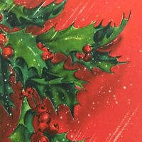 Vintage Mid Century Christmas Greeting Card Hallmark Holly Leaves Red Berries