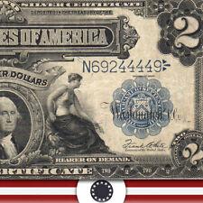 "1899 $2 SILVER CERTIFICATE BILL  ""MINI PORTHOLE NOTE""  Fr 258   N69244449"