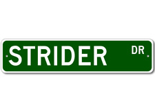 STRIDER Street Sign - Personalized Last Name Signs