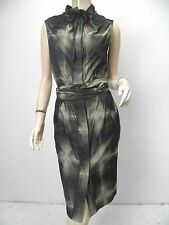 L.A.M.B. Gwen Stefani Dress Black Army Green Abstract Plaid Belted Shirt sz 4