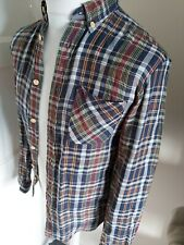 Mens Fred Perry Shirt Blue Check Plaid Tartan Xs 36 Chest Mod Ska