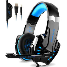 Subwoofer 3.5mm Gaming Headset Mic LED Headphones Stereo Surround for Laptop PS4