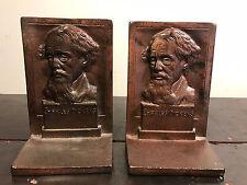 ANTIQUE CHARLES DICKENS ART STATUE SCULPTURE CAST IRON BRONZE BUST BOOKENDS