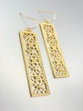 GORGEOUS Urban Anthropologie Gold Lattice Metalwork Rectangle Dangle Earrings