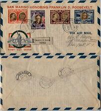 SAN MARINO-FDC Honoring Franklin D. Roosevelt-Raccomandata x New York 9.5.1947