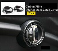 Carbon Fibre L&R Interior Door Catch Ring Trim Cover For MINI Cooper S F55 F56