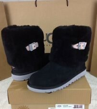 UGG ELLEE BIG KIDS BLACK FEATHER SHEEPSKIN CUFF BOOTS YOUTH 6 WILL FITS WOMENS 8