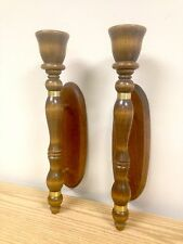 Vintage Wooden Torch Handle Wall Sconces