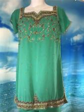 "Aqua Green Beaded Salwar Kameez 36"" Bust Punjabi India Sari Pant Suit AS-IS"