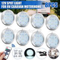 8 x 12V LED Spot Ceiling Light Camper Caravan Motorhome Boat Downlight & Remote