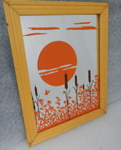 Mid Century Mirror Glass Wall Hanging Picture Sunset Cattails Orange Retro