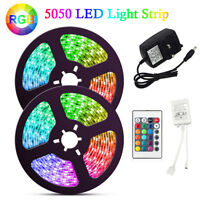 1~5M 5050 RGB 60 LED Strip Adapter Lights Color changing IR Remote Lighting 12V
