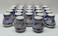 Lot of 11 Pair WIDE Blue/Violet/White Ceramic Salt & Pepper Shakers, Flower Buds