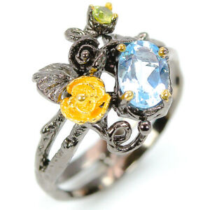 Wedding Anniversary jewelry Natural Blue Topaz 925 Sterling Silver Ring RVS306