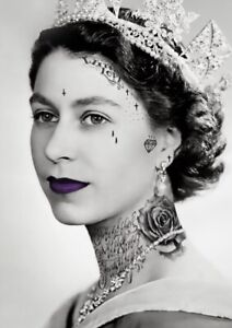 Queen Punk With Tattoo Purple Canvas Print Wall Art Picture Size 20x30 Inch 18mm