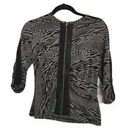 JOSEPH RIBKOFF Tan Black Stretch Mixed Animal Print Full Zip Ruched Jacket Sz 6