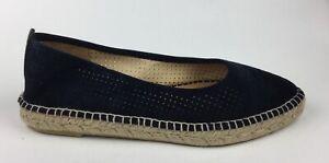 Matt Bernson Valencia Womens Dark Blue Suede Leather Espadrilles Loafers US 11