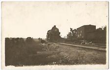 Railroad Steam Locomotive & Railroad Crane RPPC Real Photo Postcard c.1910