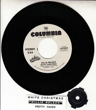 "WILLIE NELSON  White Christmas & Pretty Paper 7"" 45 record NEW + jukebox strip"