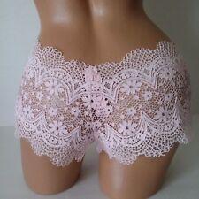 """Victoria's Secret """"BOY SHORT/CULOTTE"""" Panty Pink Floral Lace L"""