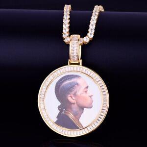 """Custom Photo Pendant 18"""" - 30"""" Necklace Tennis Rope Cuban Chain Hip Hop Baguette"""