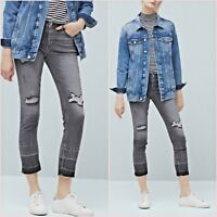 Mid Rise Faded Grey Ribbed Crop Skinny Jeans Mango Size 6 UK US 2 Zara Blogger ❤