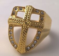 G-Filled18ct yellow gold simulated diamond cross Christian Crusader Men's ring V