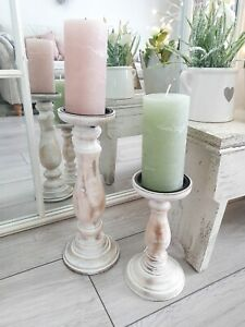 Beautiful Shabby Chic Rustic White Wash Wooden Pillar Candlestick Set 2