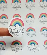 Personalised Rainbow Cloud Happy Birthday Stickers stickers sheets bag stickers