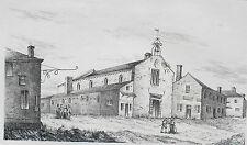 Litografía siglo XIX Convento de las Cordeliers -Tartas landas Murciélago P.B
