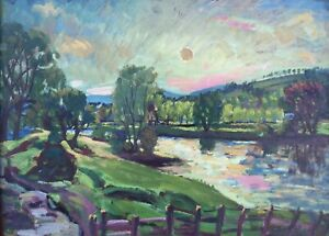 """Sunset, River Devon, Perthshire, Scotland"" by Archibald Peddie (Oil on Board)"