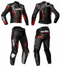 Aprilia RSV4 Hommes Moto Combinaison Cuir Moto Veste Pantalon Racer Armour CE