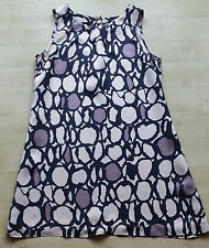 LADIES BLACK WITH CREAM & TAUPE PATTERNED DRESS RIVER ISLAND SIZE 10