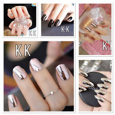 24/12/1 shiny Mirror Silver False Nails french  Point Metallic Acrylic Nail uk
