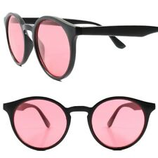 Classic Retro Old Fashioned Hipster Mens Womens Black Red Lens Round Sunglasses