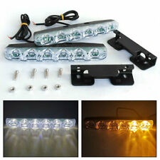 2pcs LED Car Daytime Running Light DRL Driving Turn Signal Fog Lamp White Amber