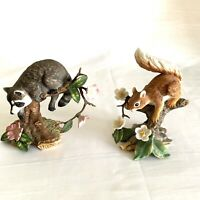 Set Of 2 Twilight Mischief Lenox Red Squirrel , Racoon 1989 1990 Handcrafted