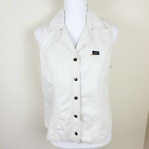 Harley Davidson Jean Denim Shirt Top Button Front Sleeveless Women's Size L