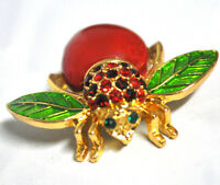 NEW Joan Rivers Big Red APPLE BEE PIN Bug Brooch Pave Crystal Rhinestones Enamel