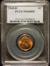 1945-D  Lincoln Wheat Cent  PCGS MS66 Red  #8633 Free Shipping !